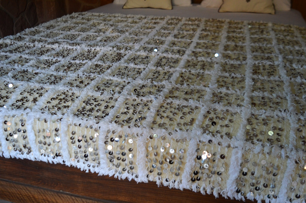 Moroccan Wedding Blanket With A Background In Cream And Ivory